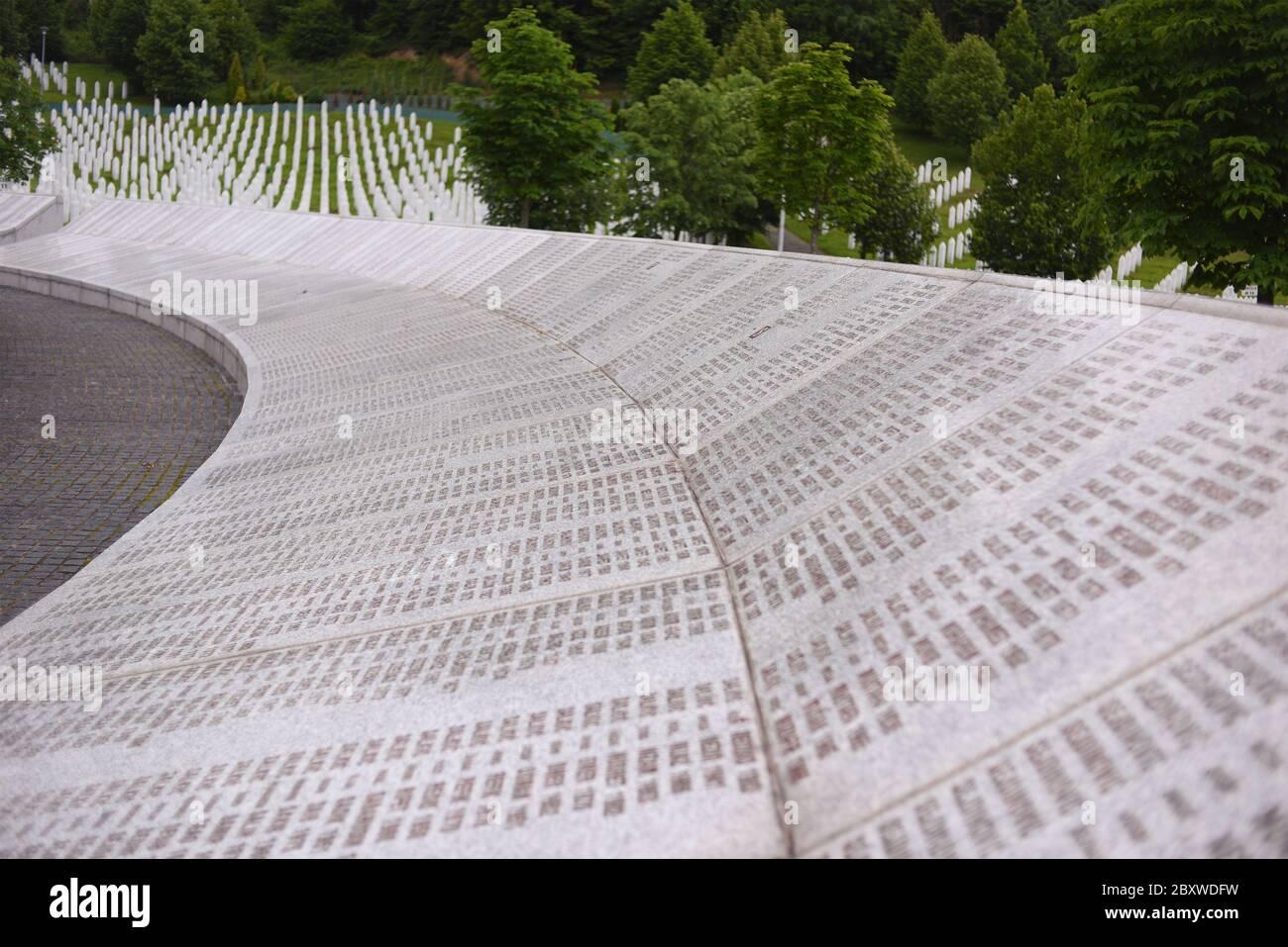 Srebrenica, Bosnia-Herzegovina, June 01 2020: Srebrenica-Potocari memorial and cemetery for the victims of the 1995 massacre Stock Photo