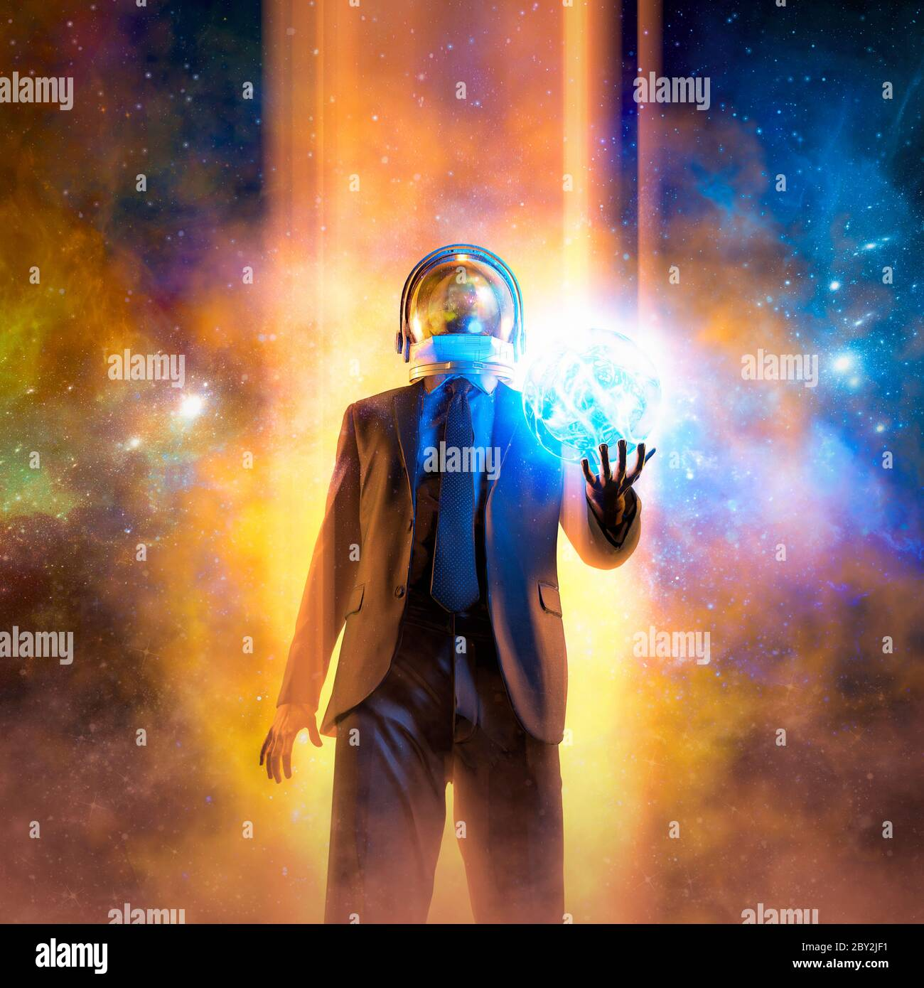 Night of the magician / 3D illustration of suited male figure with astronaut helmet conjuring glowing ball of energy in outer space Stock Photo