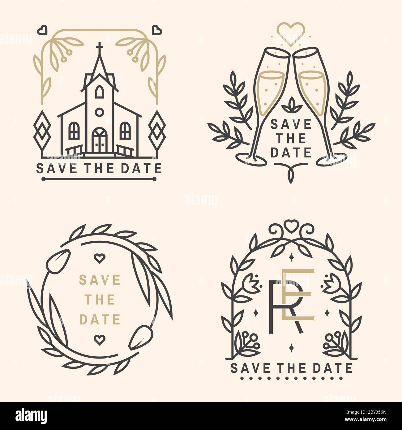 Wedding invitation card template. Vector. Thin line geometric With Church Wedding Invitation Card Template