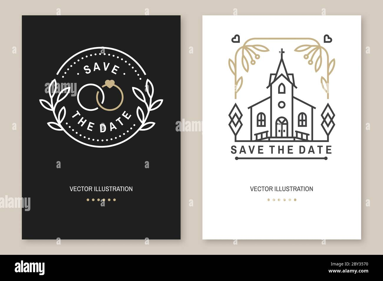Wedding invitation card template. Vector. Thin line geometric With Regard To Church Wedding Invitation Card Template