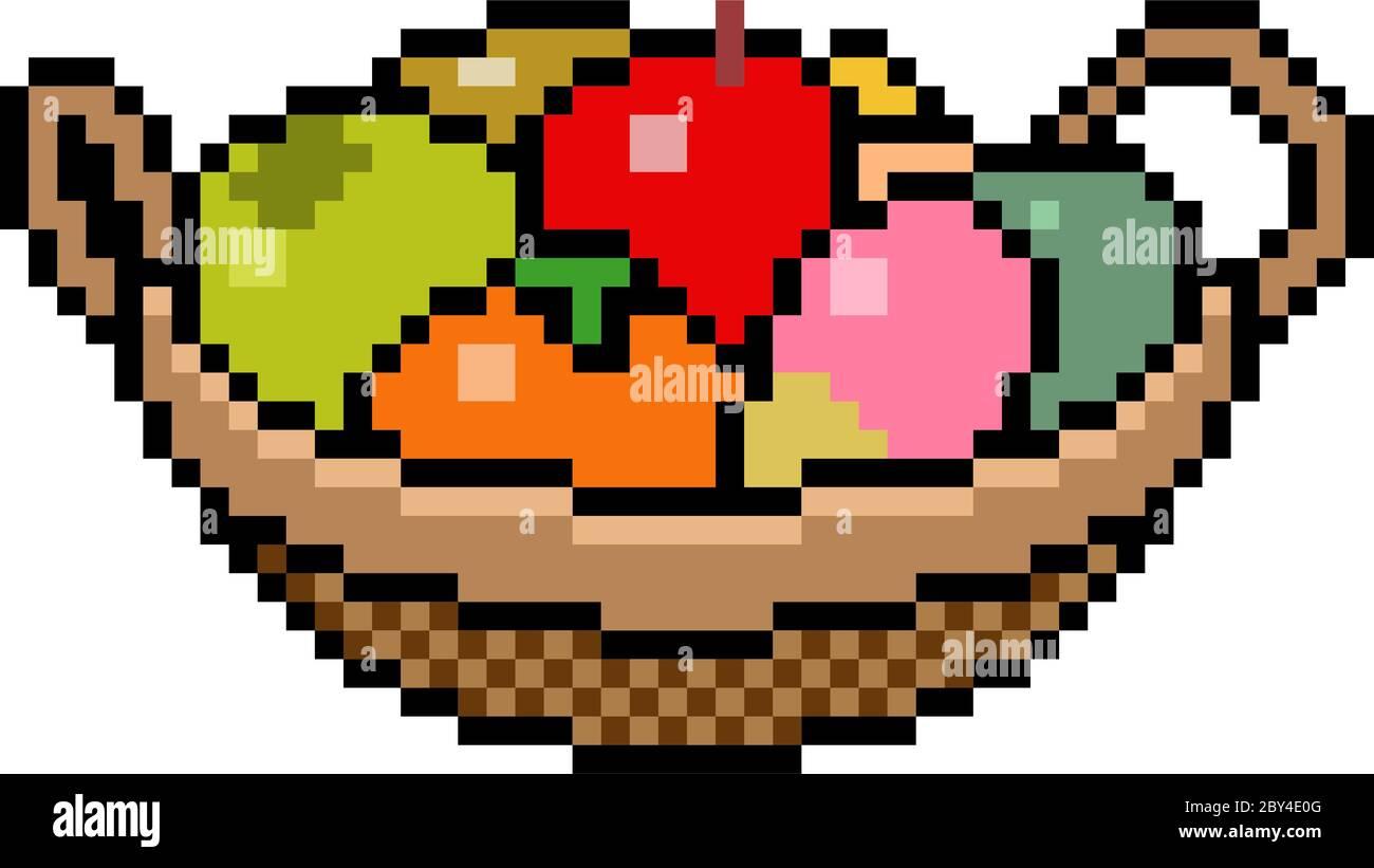 Vector Pixel Art Basket Fruit Isolated Stock Vector Image Art Alamy