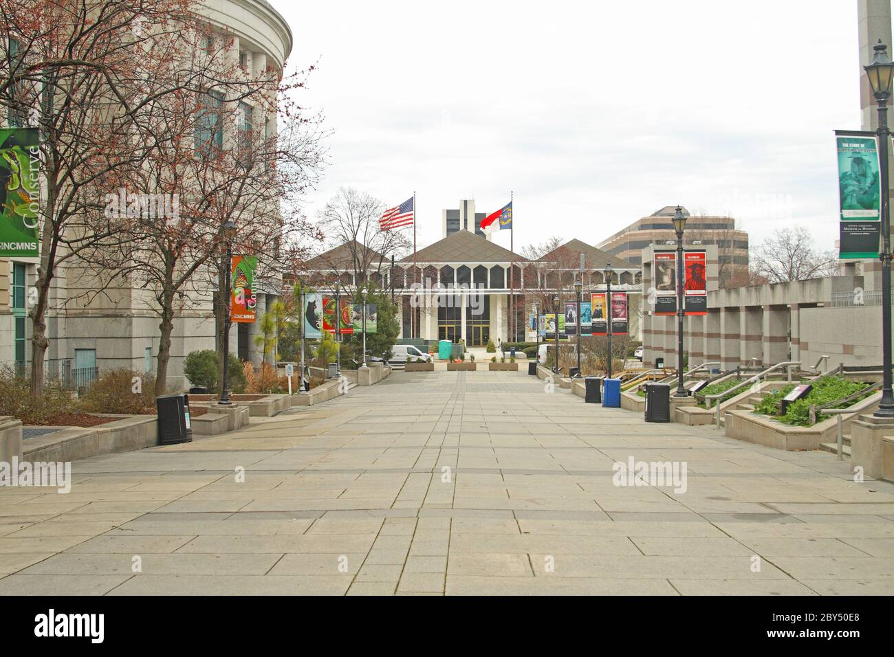 Bicentennial Plaza, Raleigh, NC, USA: North Carolina General Assembly (straight ahead), Museum of Natural Sciences (left) & Museum of History (right) Stock Photo
