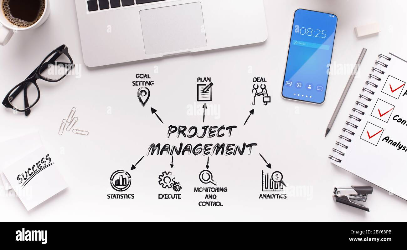 Schematic idea of project management over office desktop Stock Photo