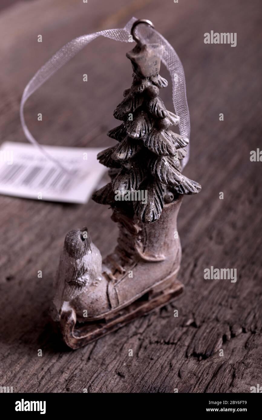 Beautiful Christmas Tree Decoration Small Ice Skates On Vintage Wooden Table Stock Photo Alamy