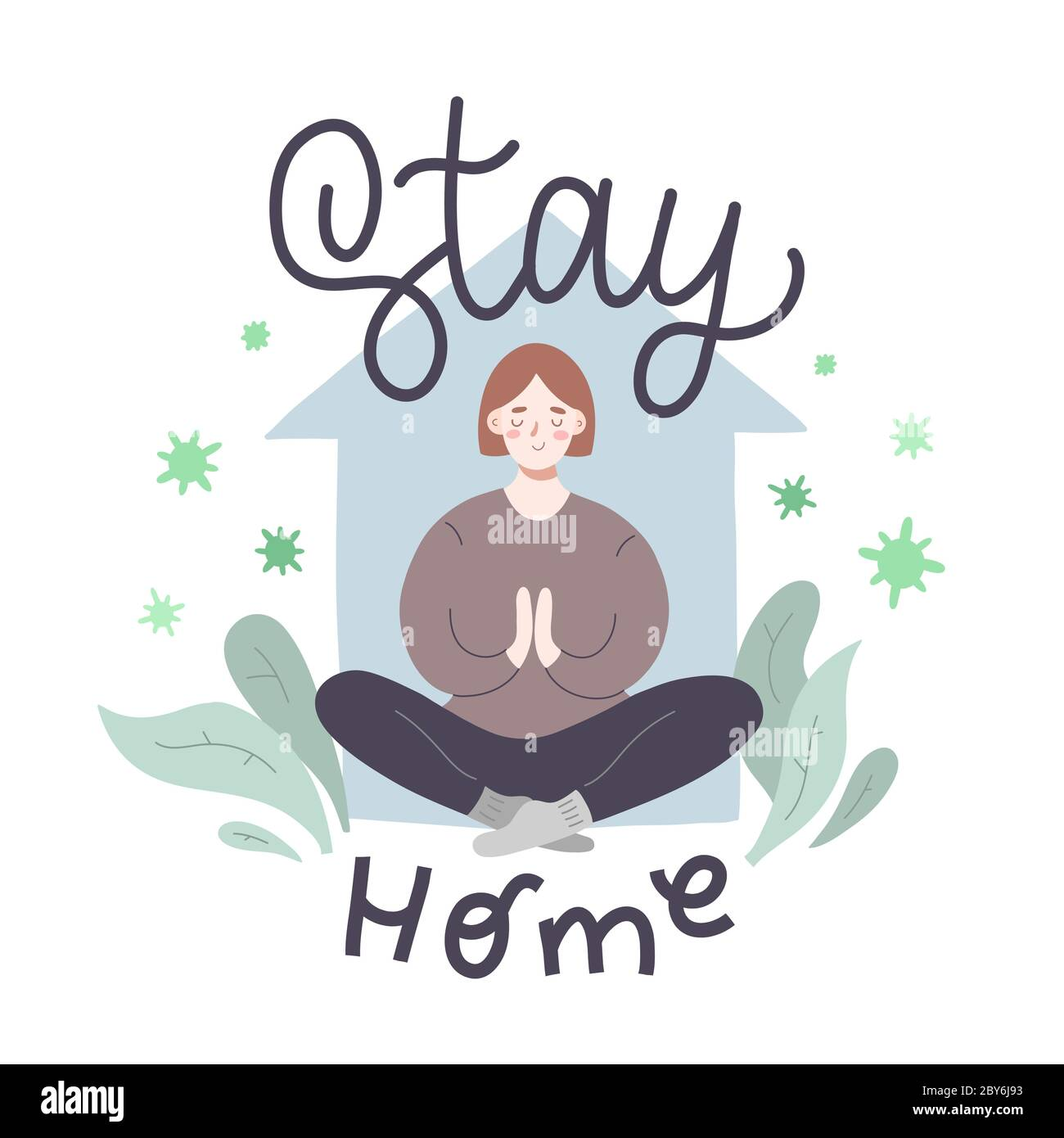Young Woman Meditating At Home Social Distancing Concept Stay Home Lettering Stress Relief During Covid 19 Lockdown Cute Cartoon Character Hand Stock Vector Image Art Alamy