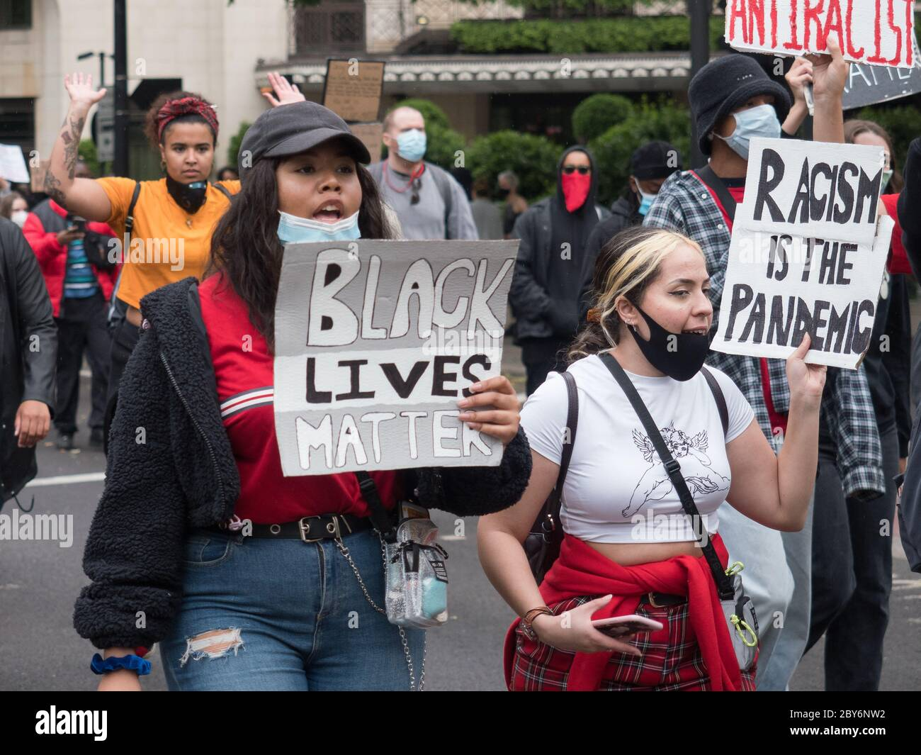 London, UK, 3 June 2020 - Black Lives Matter protesters marched from Hyde Park to Parliament following the death in custody of George Floyd. Stock Photo