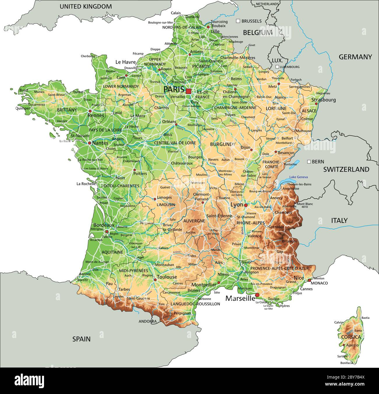 High Detailed France Physical Map With Labeling Stock Vector Image Art Alamy