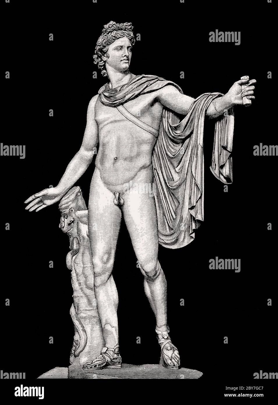 The Apollo of the Belvedere or Pythian Apollo, marble sculpture from Classical Antiquity Stock Photo
