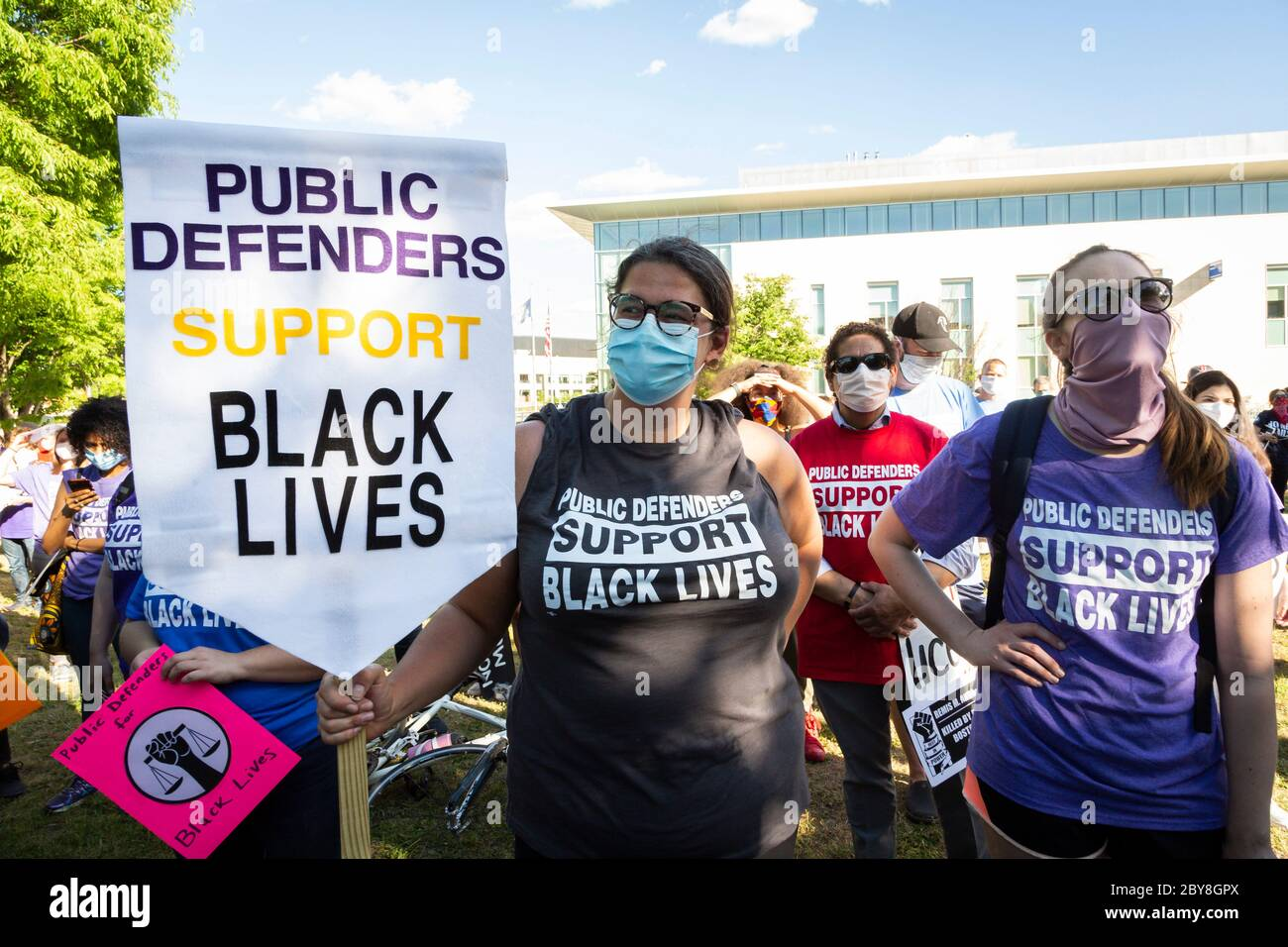 June 8, 2020. Roxbury, MA. Public defenders hold Black Lives Matter march in Roxbury Local public defenders rallied with members of the Black communit Stock Photo