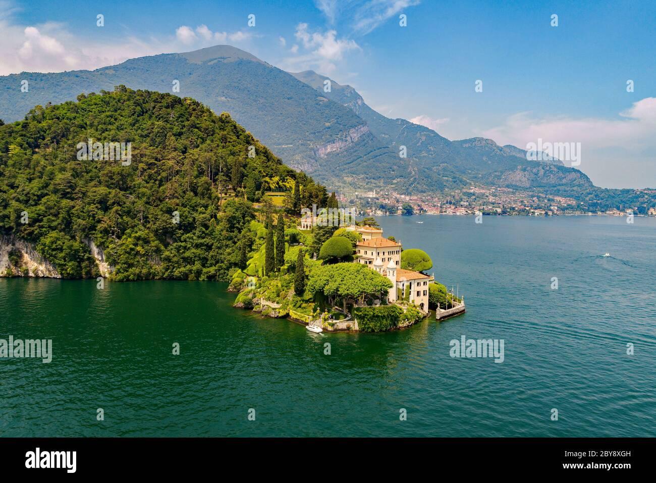 Villa del Balbianello (1787) - Lavedo - Lenno - Lake Como (IT) - Aerial View Stock Photo
