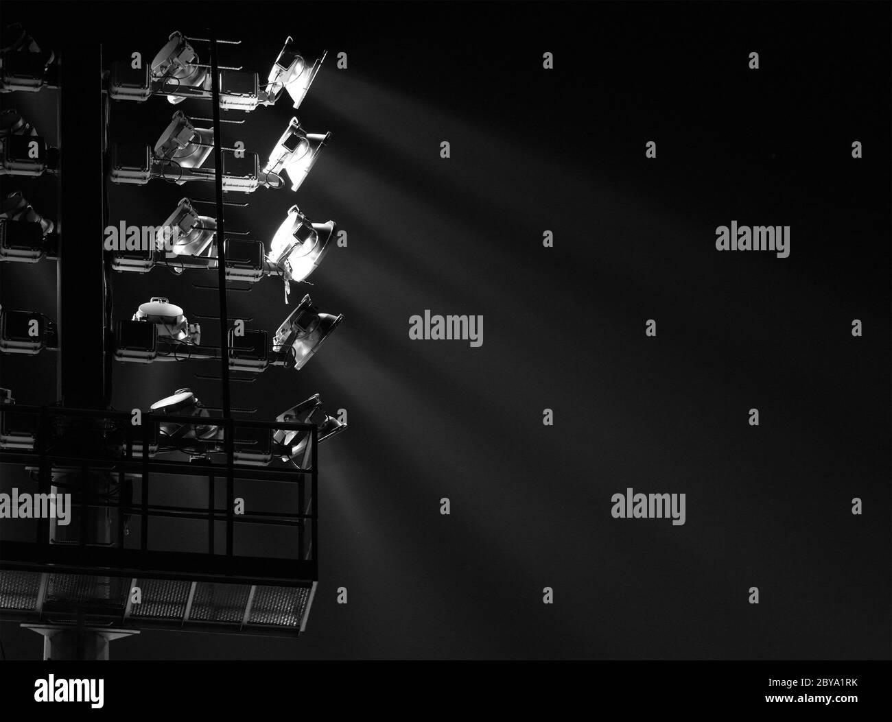 The Stadium Spot Light Tower Dark Background Stock Photo Alamy
