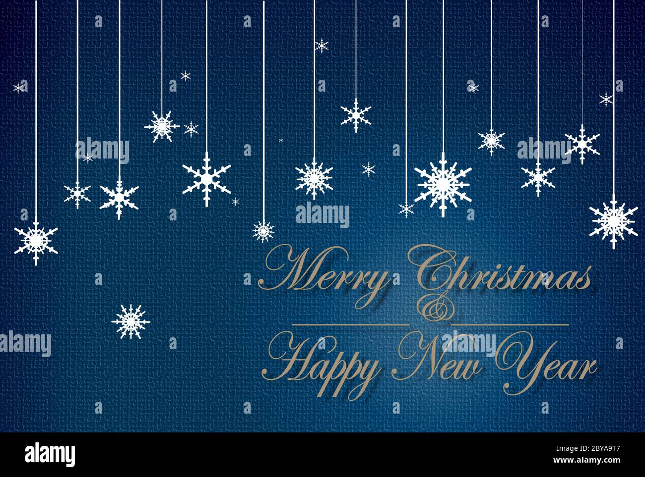 merry christmas and happy new year text in copper colour and icons of snowflakes in trendy blue background christmas 2021 new year elegant greeting card frame banner stock photo alamy alamy
