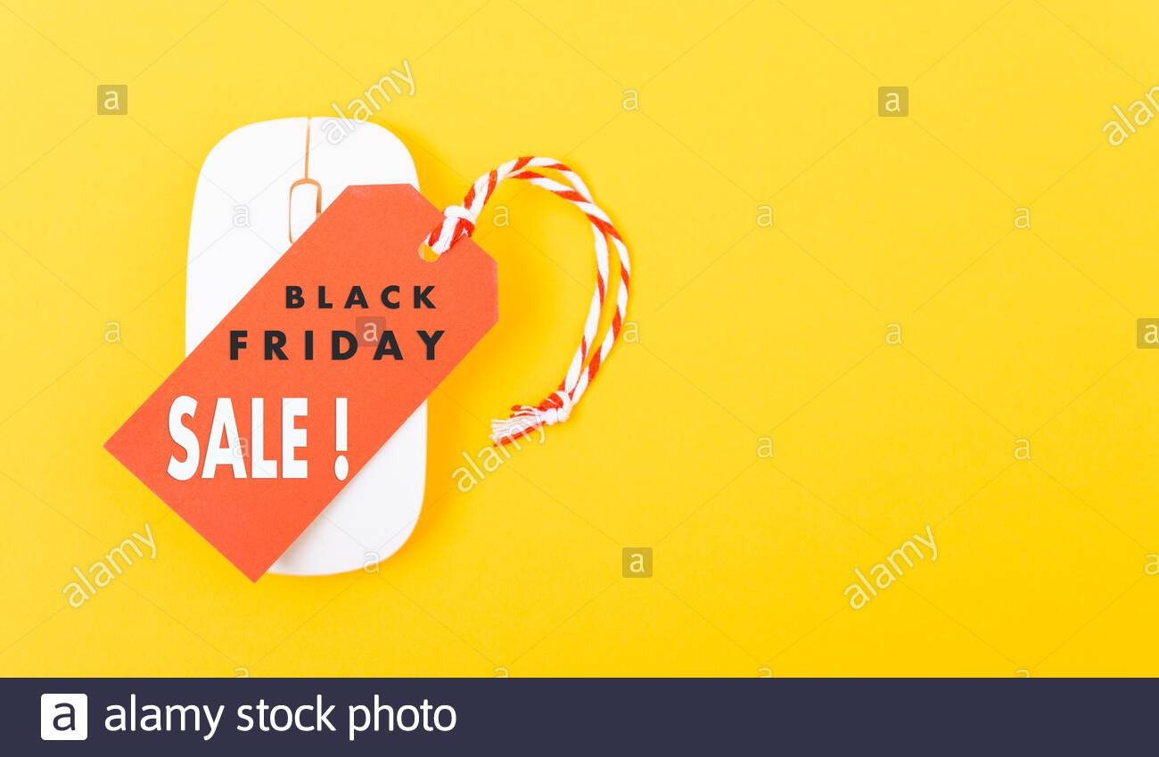 Internet Online Shopping Marketing Promotion Black Friday Sale Text On Red Tag Label And White Mouse With Yellow Background Stock Photo Alamy