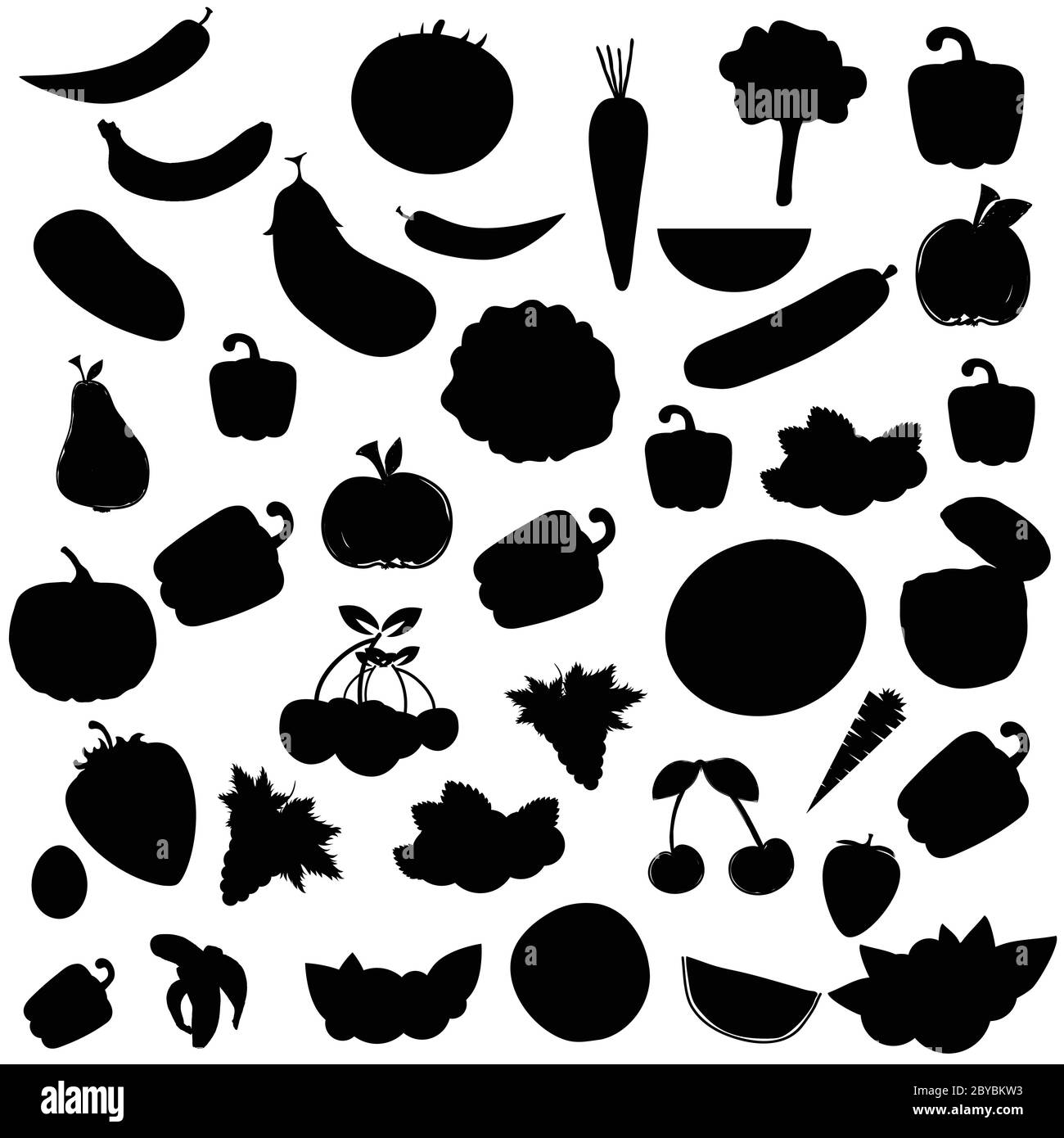 Fruit And Vegetable Food Set Illustration In Black Color Stock Vector Image Art Alamy