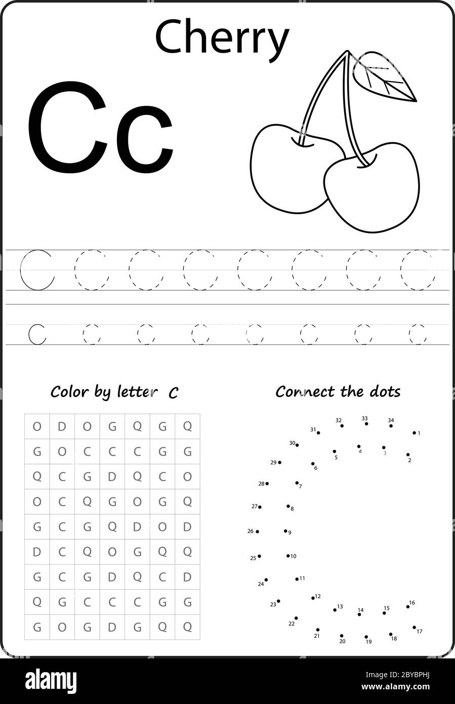 Letter C Alphabet Letter Worksheet Task For Kids Learning Letters Stock Vector Image Art Alamy