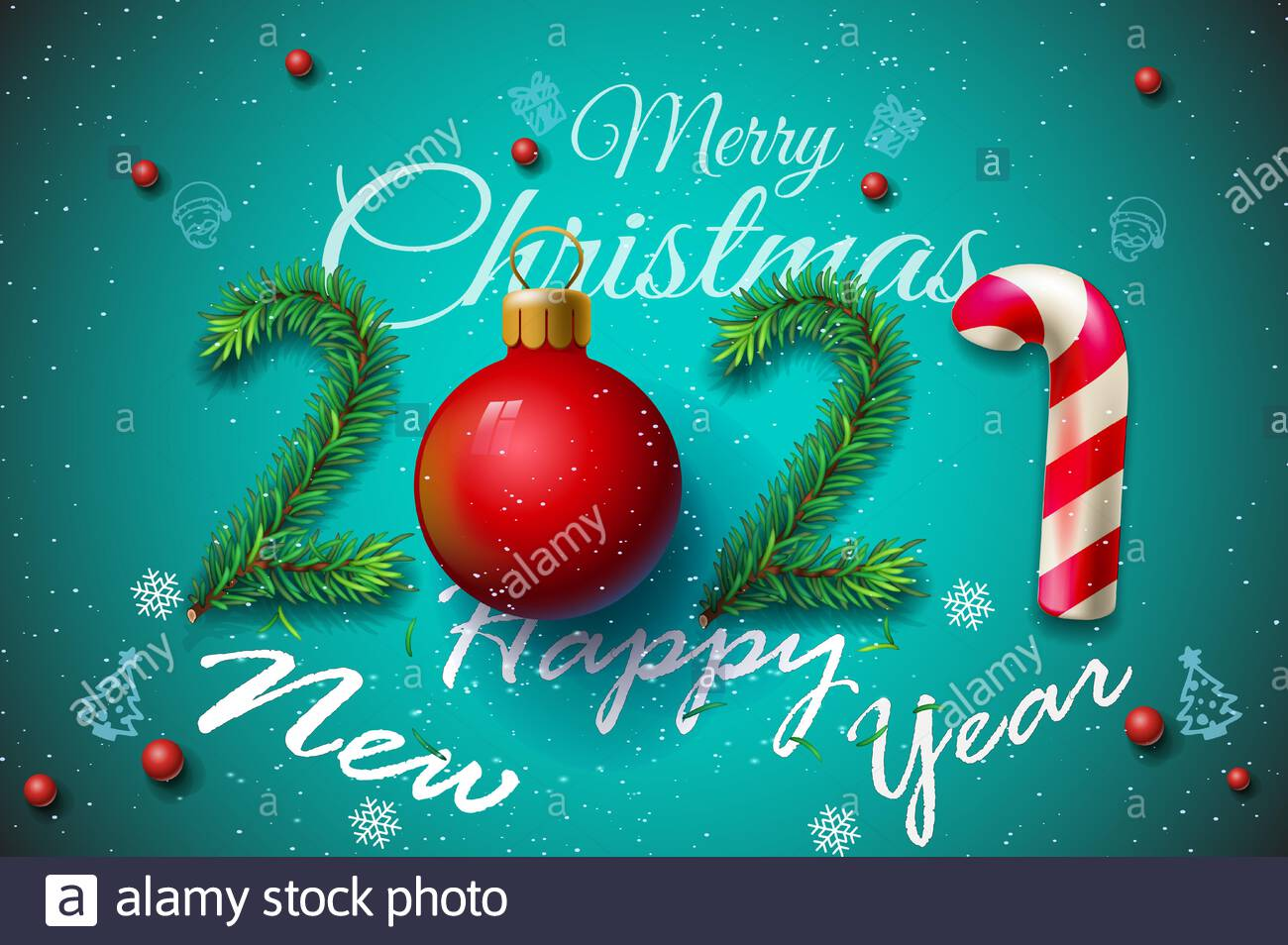 Whats New In Christmas Cards 2021 New Year 2021 And Merry Christmas Greetings Merry Christmas And Happy New Year 2021 Greeting Card Vector Illustration New Year 2021 Greeting Card Stock Vector Image Art Alamy