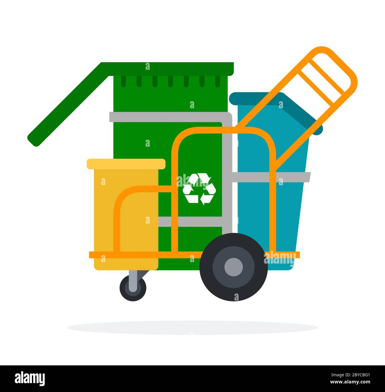 Waste collection trolley with containers vector icon flat isolated. Stock Vector