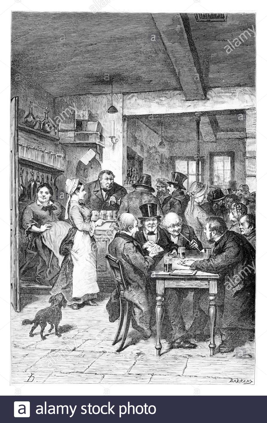 The Tavern in Brussels, Belgium, drawing by Hoese, vintage illustration. Le Tour du Monde, Travel Journal, 1881 Stock Photo