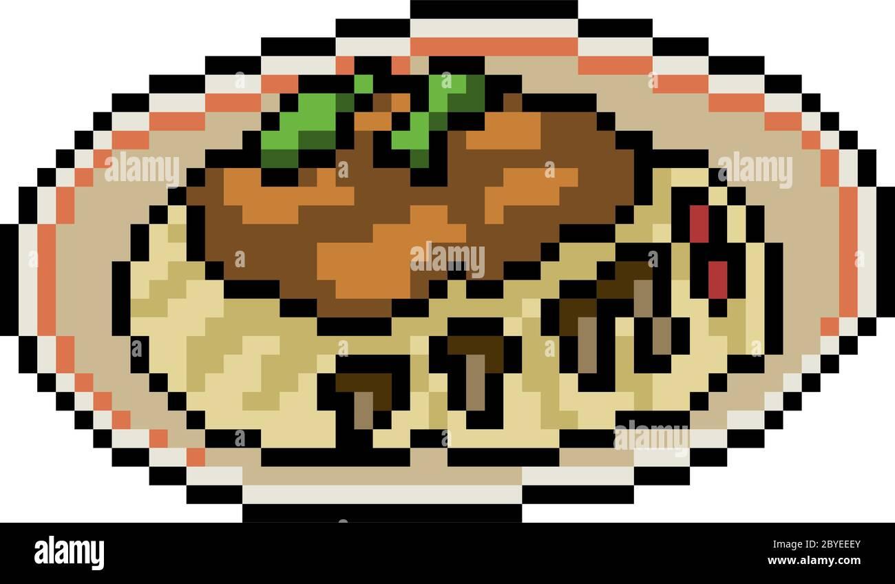 Vector Pixel Art Food Restaurant Isolated Stock Vector Image Art Alamy