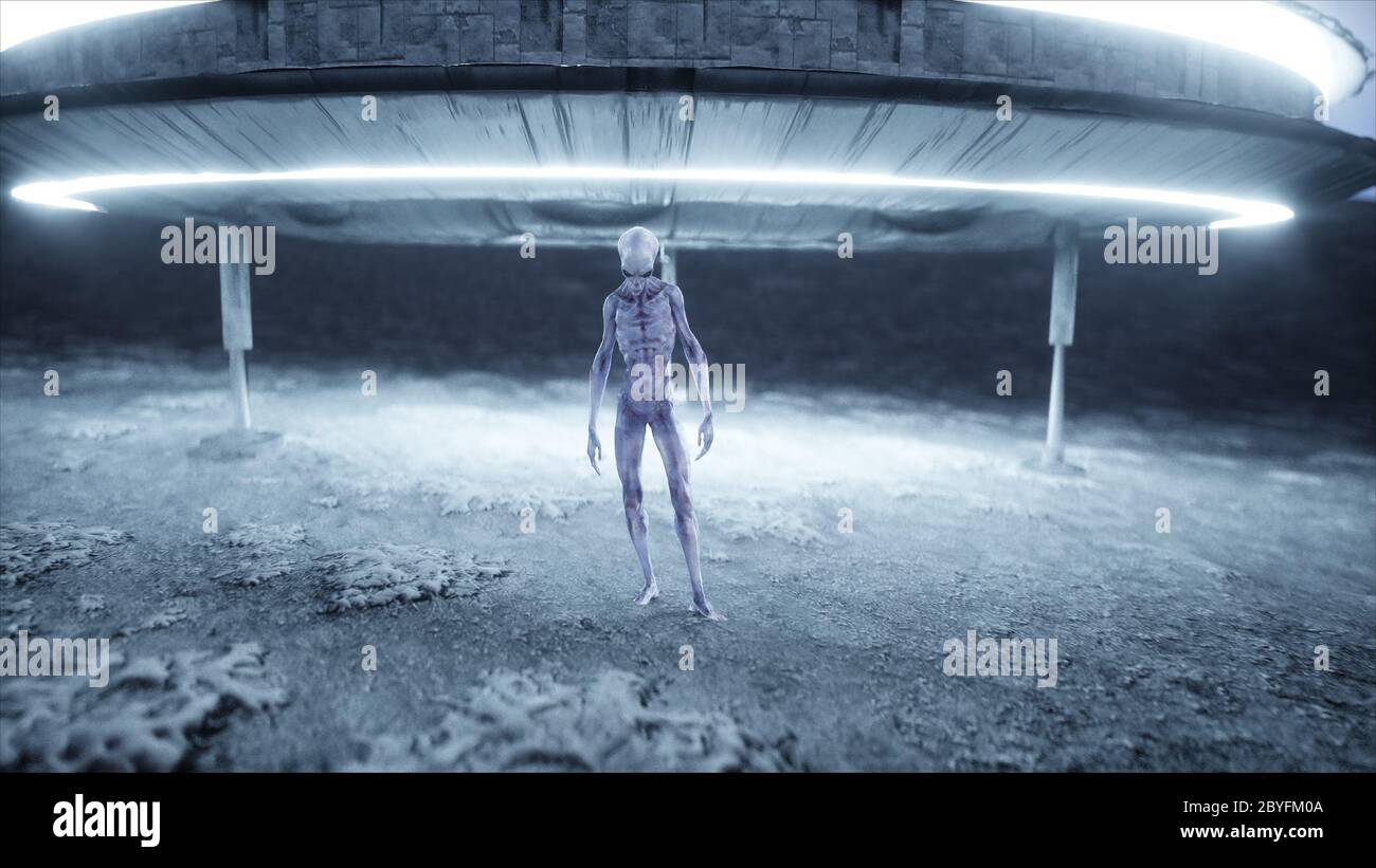 Flying Saucer With Alien On Moon Ufo Concept Realistic Metal Shaders 3d Rendering Stock Photo Alamy