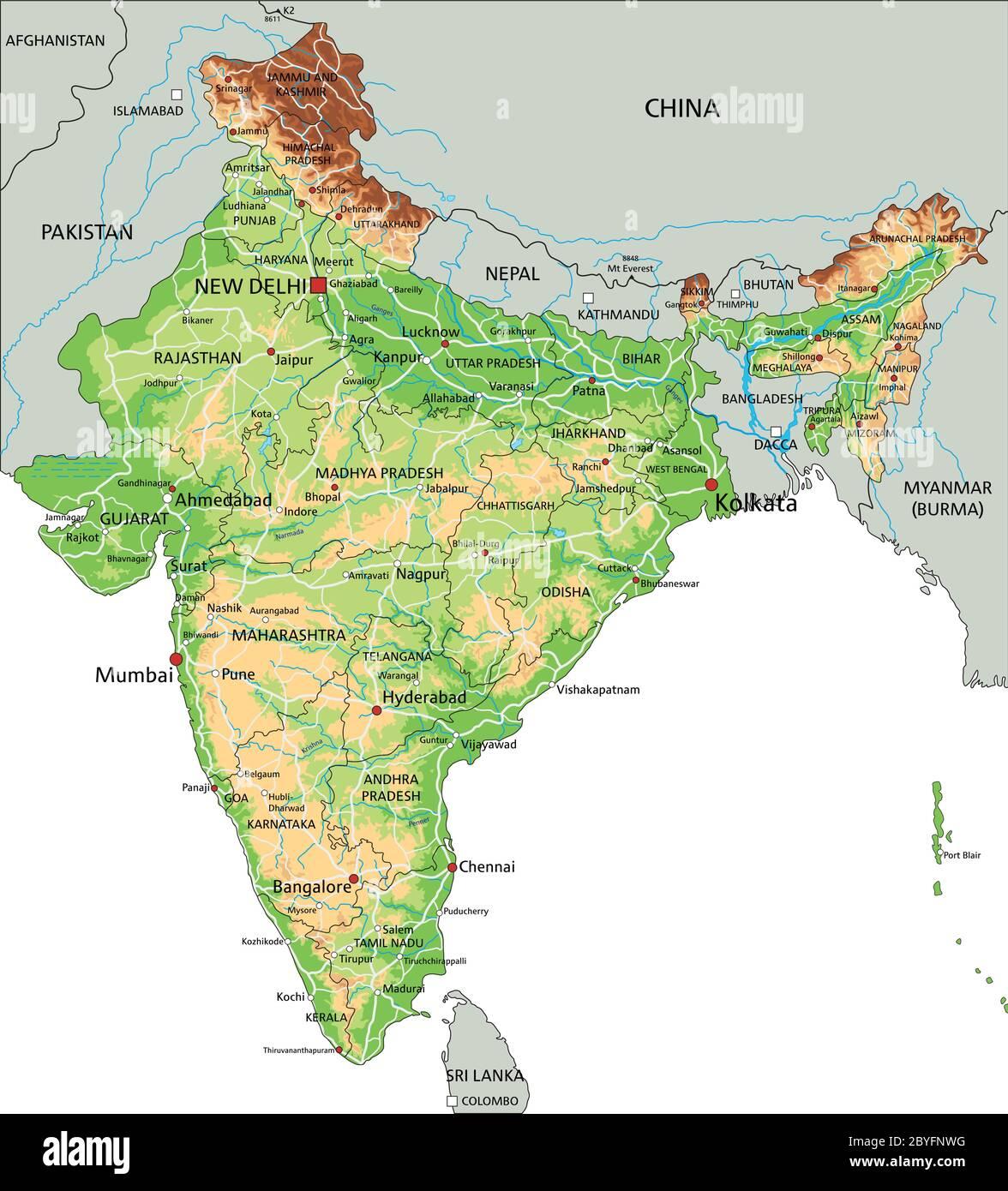 Cartina India.High Detailed India Physical Map Stock Vector Image Art Alamy