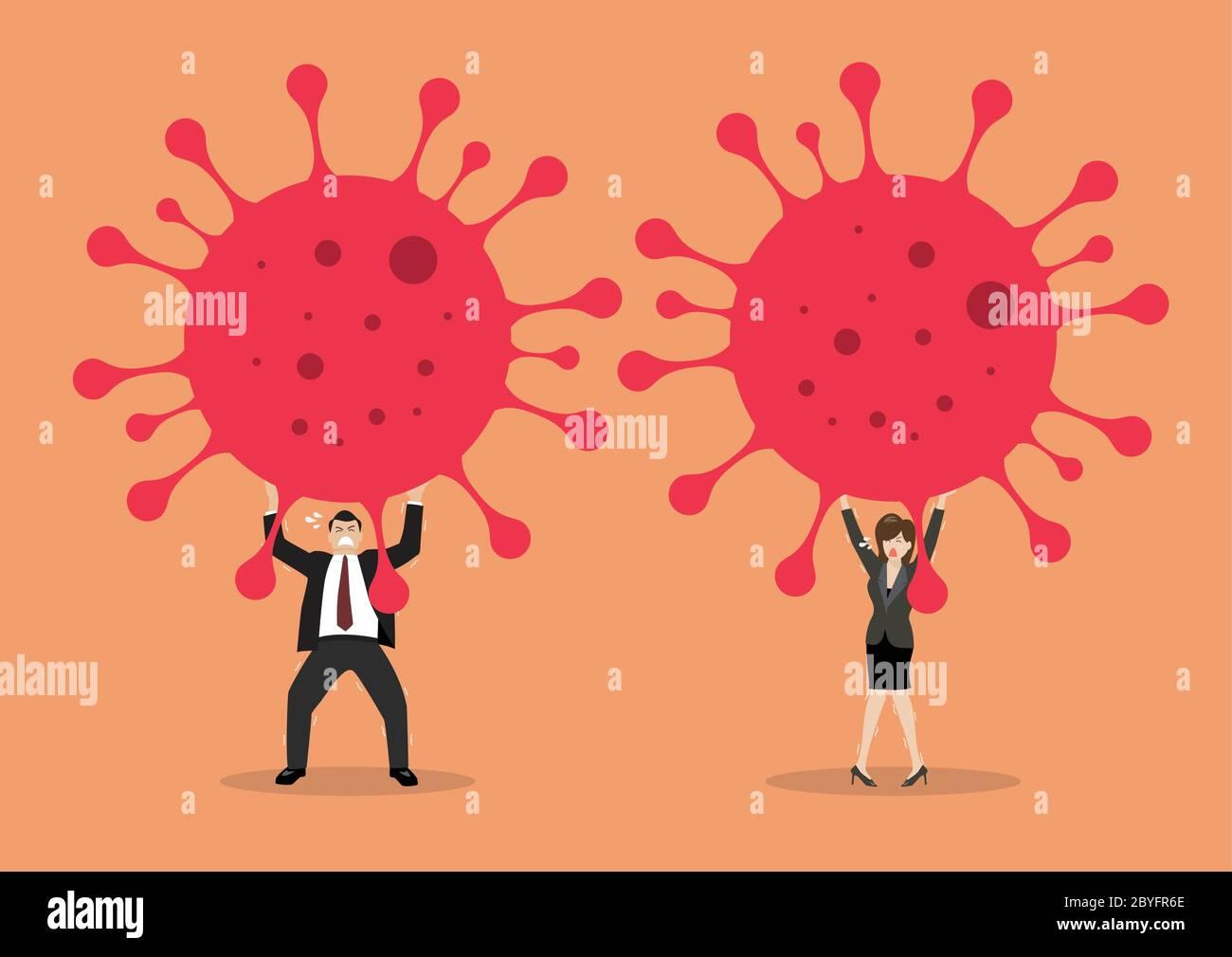 Businessman and woman struggling to carry virus. Covid-19 Coronavirus concept. Vector illustration Stock Vector