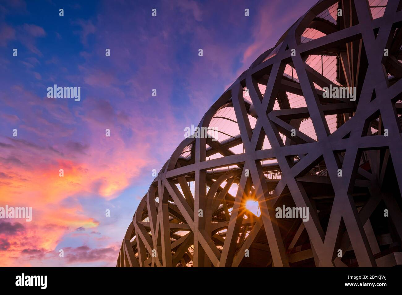 Beijing, Chaoyang District :   The Bird Nest Stadium located in The Olympic Green - an Olympic Park in Chaoyang. Stock Photo