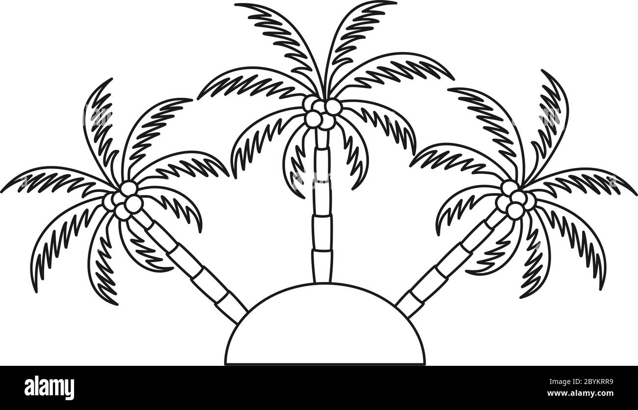 Line Art Black And White Palm Tree Island Stock Vector Image Art Alamy
