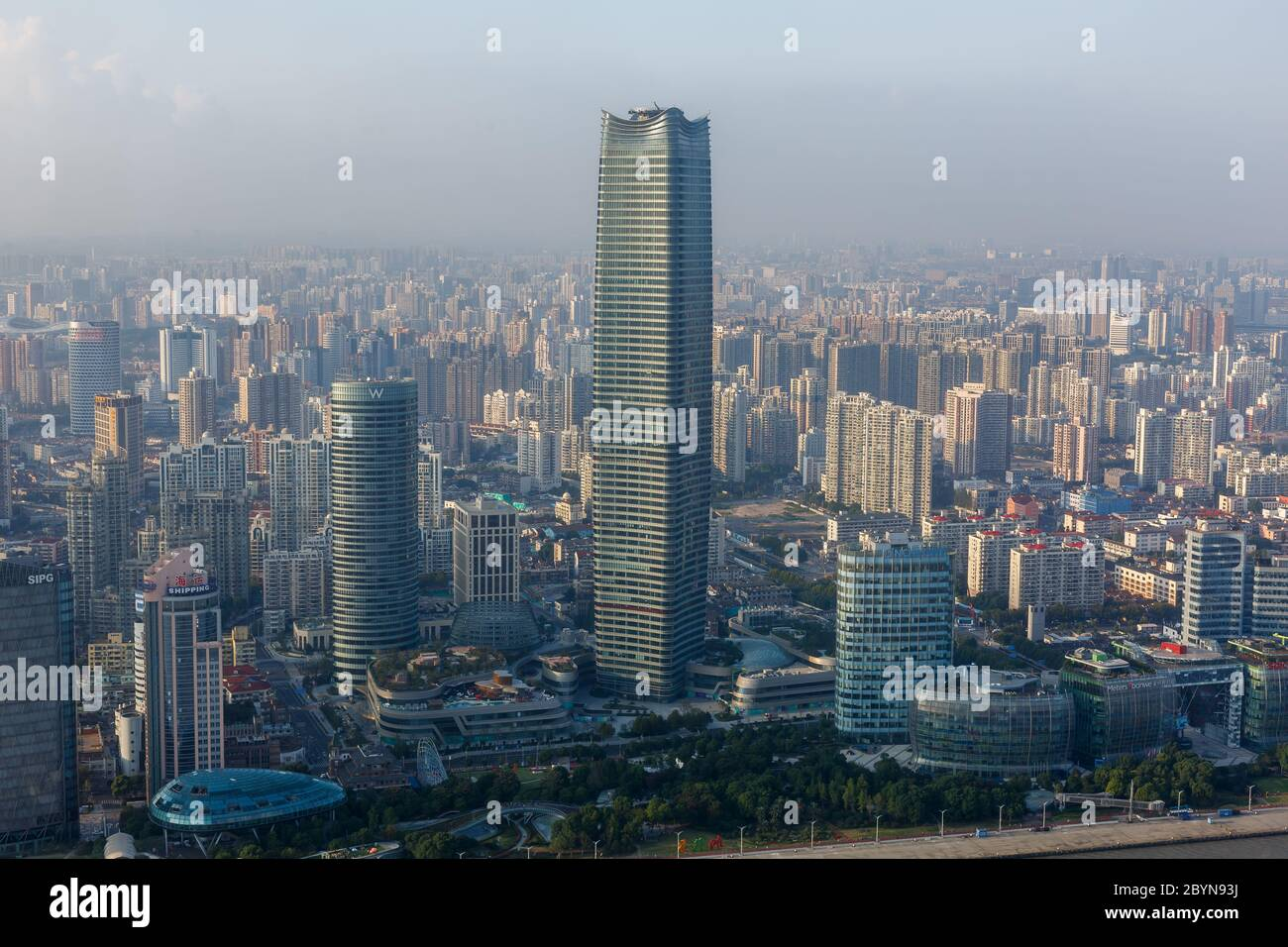 View on Jinguang Xinwaitan Tower. Close to Huangpu River. The building with the W is the W Shanghai - The Bund hotel Stock Photo