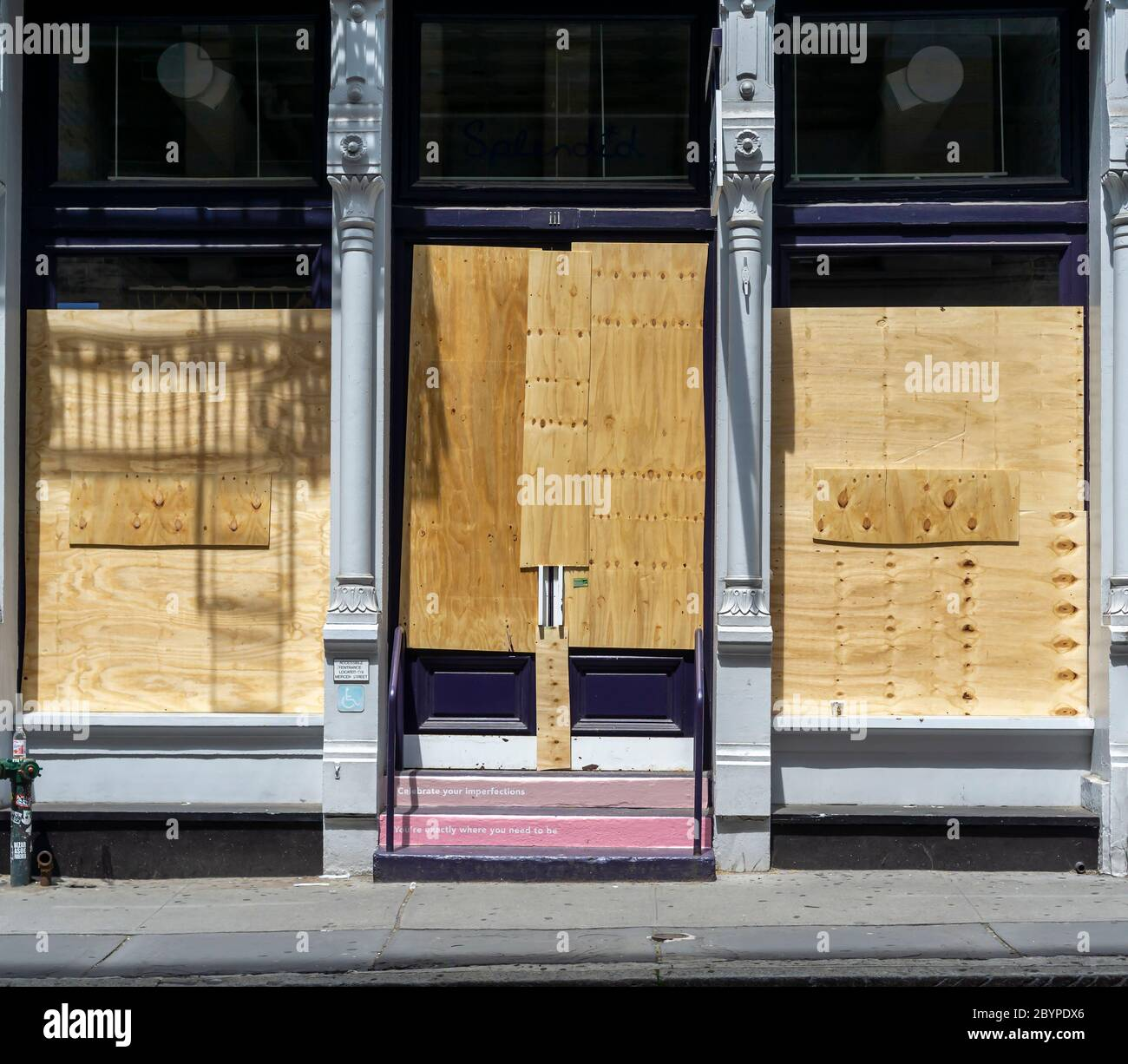 Boutiques and stores in New York are boarded up because of looting and vandalization associated with the protests related to the death of George Floyd, seen on Saturday, June 6, 2020. (© Richard B. Levine) Stock Photo