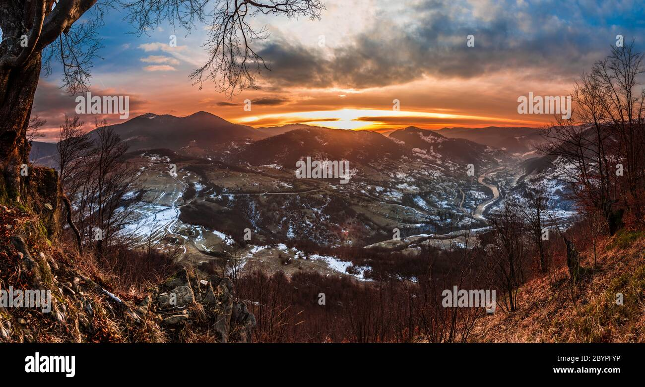 colorful winter sunrise in the Carpathian mountains Stock Photo