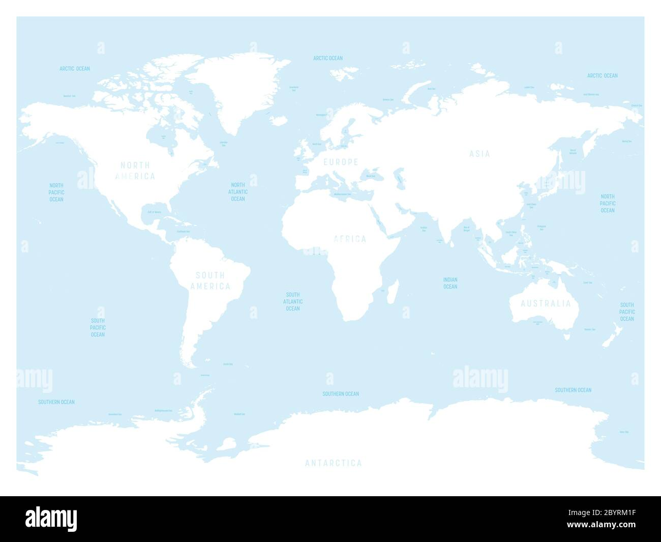 Image of: Hydrological Map Of World With Labels Of Oceans Seas Gulfs Bays And Straits Vector Map With White Lands And Blue Water Stock Vector Image Art Alamy