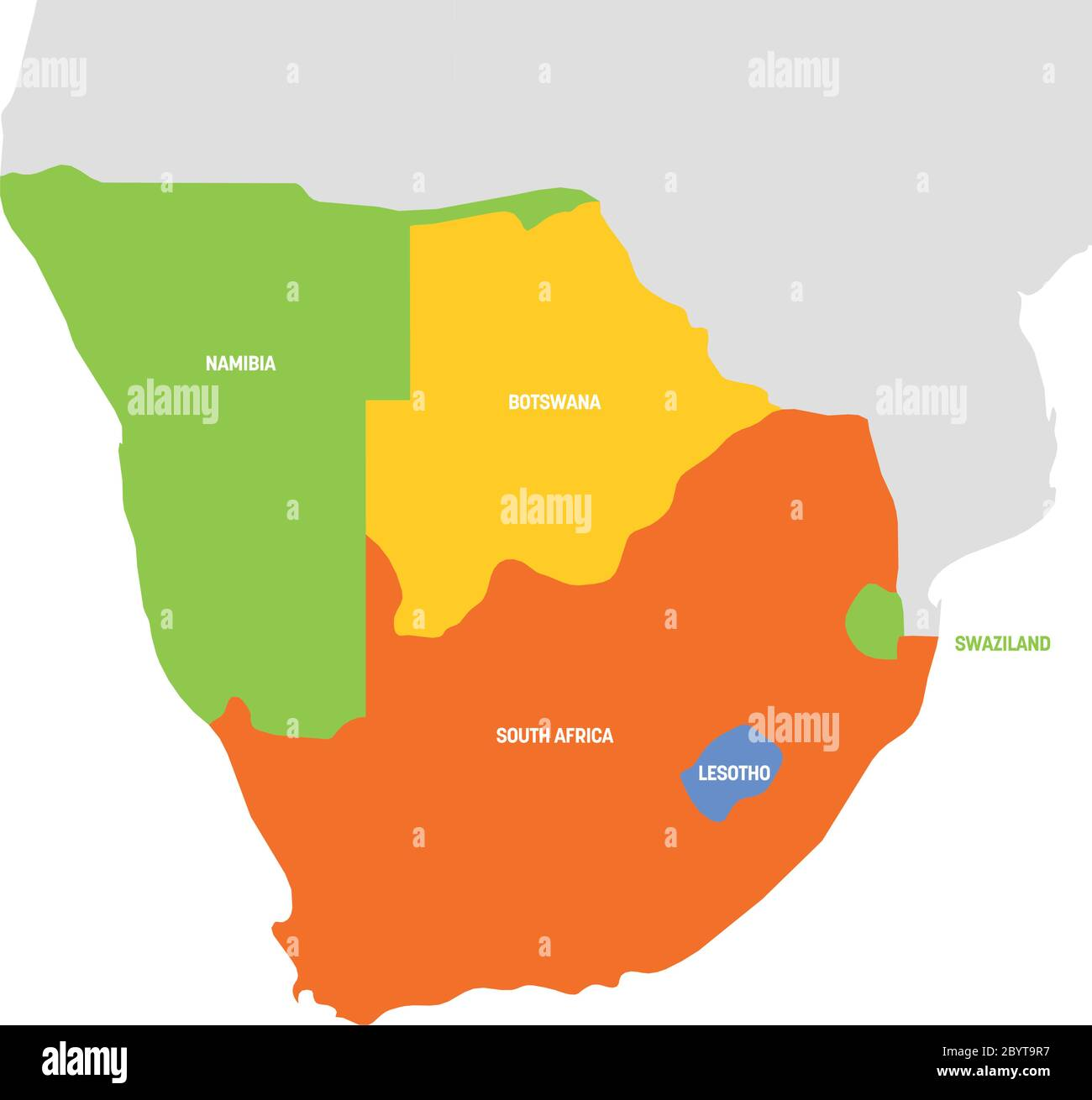 South Africa Region Map South Africa Region. Map of countries in southern Africa. Vector