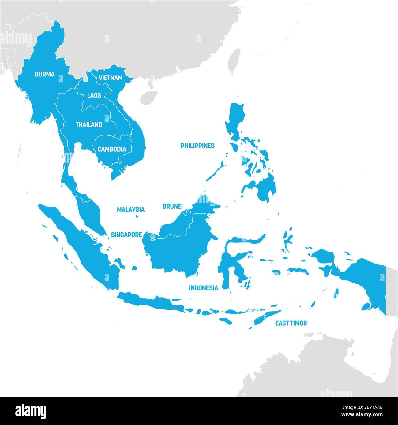 Picture of: Southeast Asia Region Map Of Countries In Southeastern Asia Vector Illustration Stock Vector Image Art Alamy