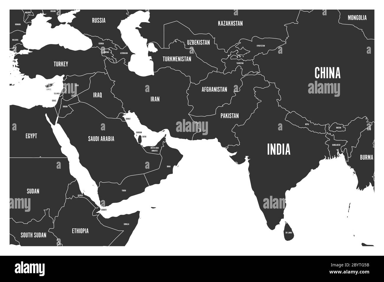 Political Map Of South Asia And Middle East Countries Simple Flat Vector Map In Grey Stock Vector Image Art Alamy