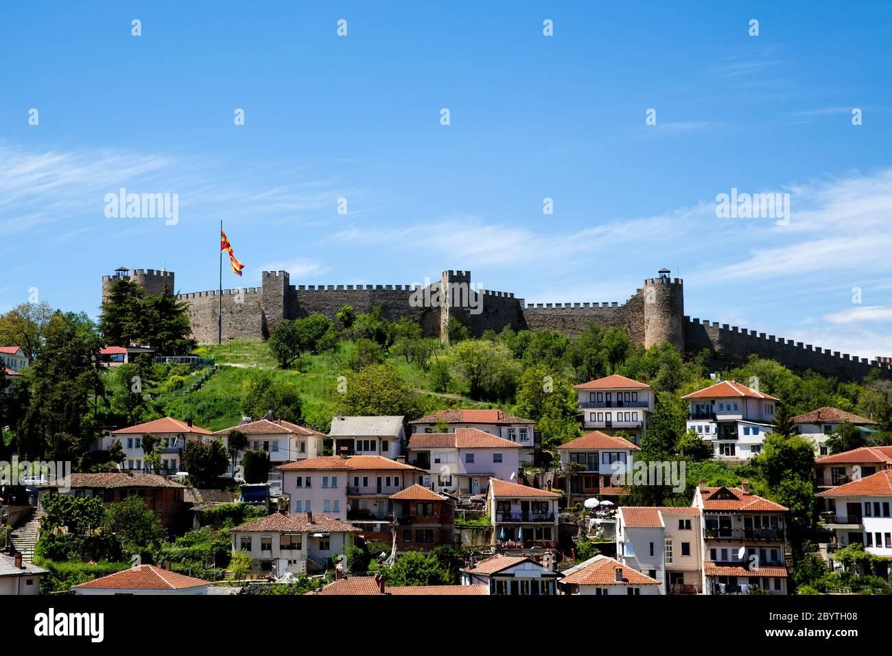 View of Tzar Samuel's Fortress, City of Ohrid, Republic of North Macedonia (FYROM) Stock Photo