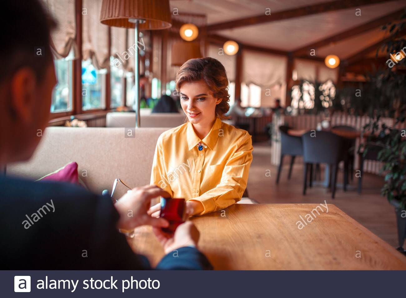 Young Man Makes Marriage Proposal To Beautiful Woman At Luxury Restaurant Couple Romantic Date Stock Photo Alamy