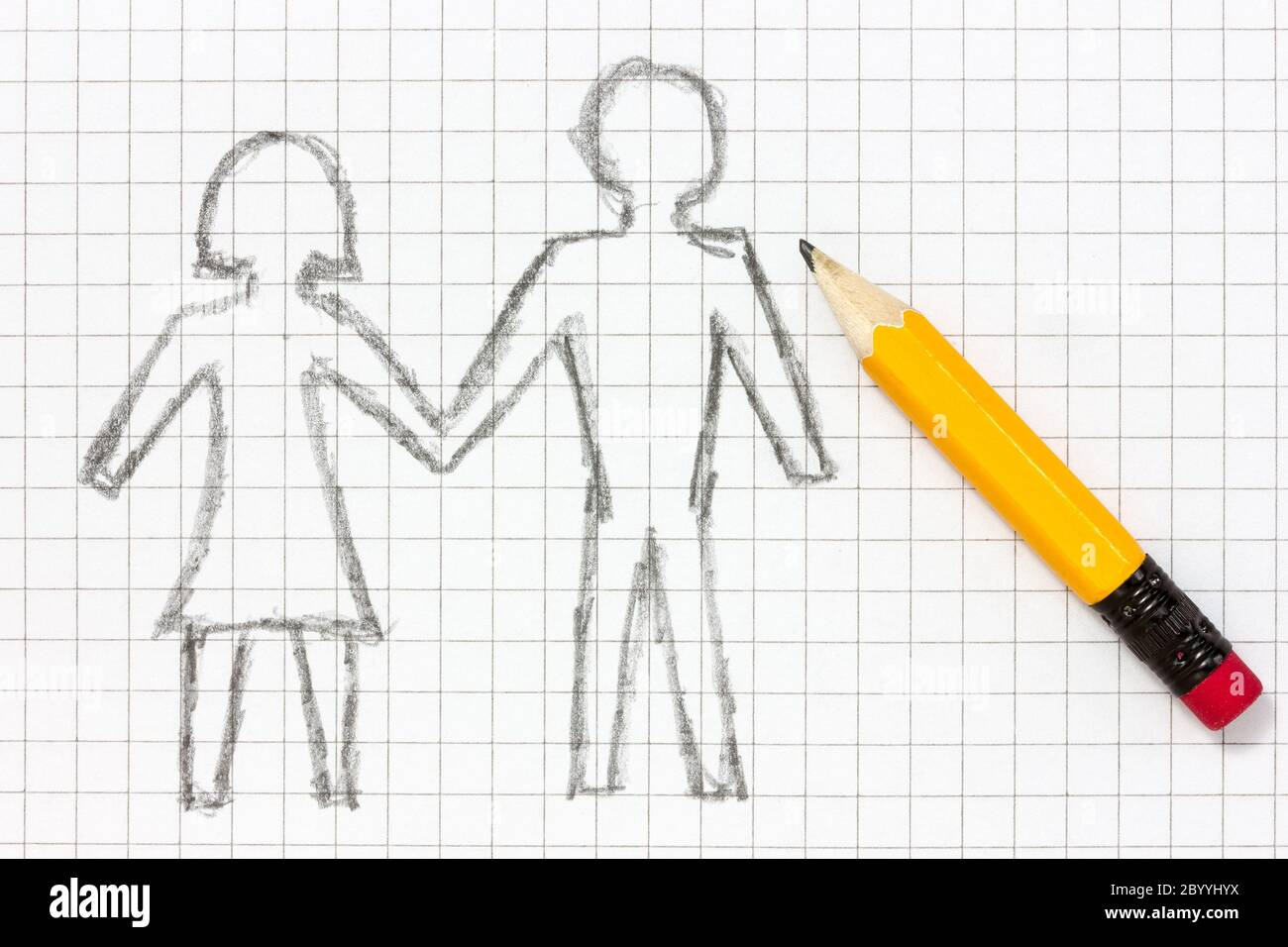 Pencil Drawing Of Happy Couple Stock Photo Alamy