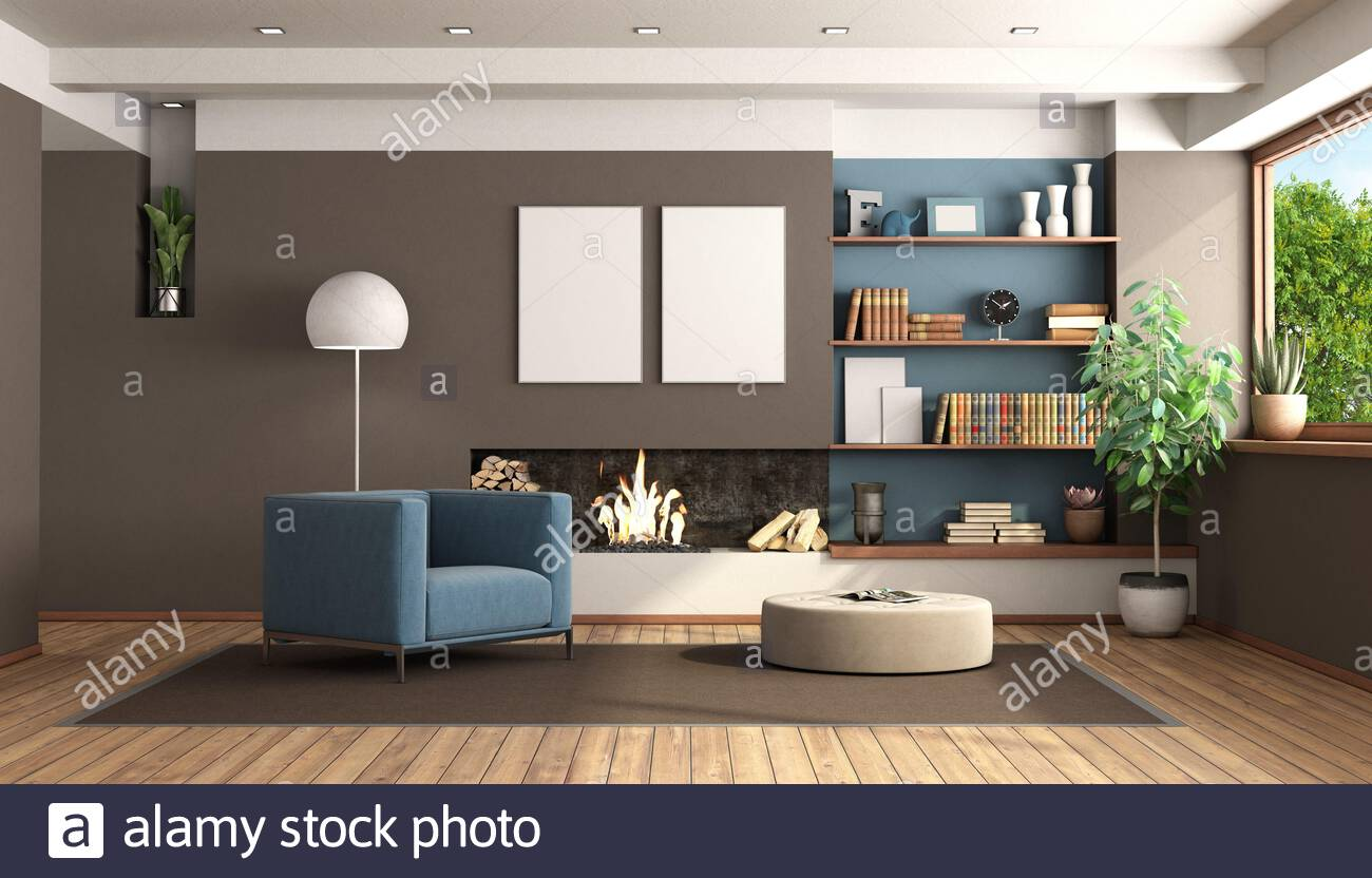 modern brown blue living room