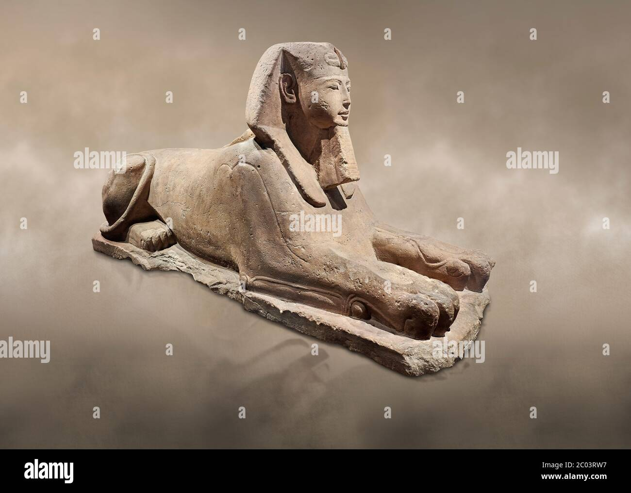 Ancient Egyptian Sphinx statue, sandstone, New Kingdom, early 19th Dynasty (1292-1250), Karnak, Temple of Amon. Egyptian Museum, Turin.   The Phatoah Stock Photo