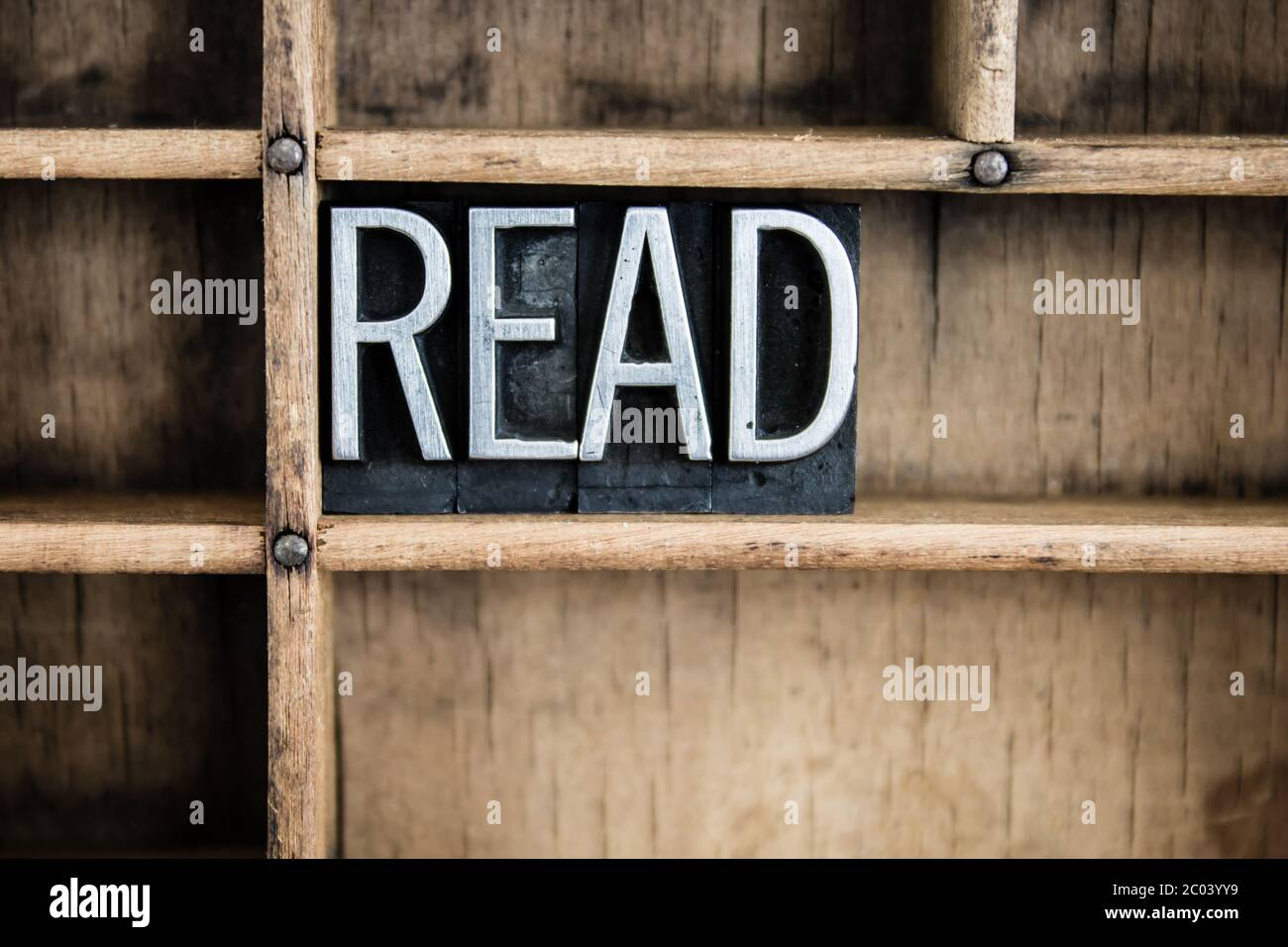 Read Concept Metal Letterpress Word in Drawer Stock Photo