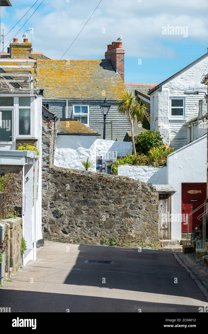 Saint Ives, Cornwall, UK. Picturesque traditional cottages in St Ives. Stock Photo