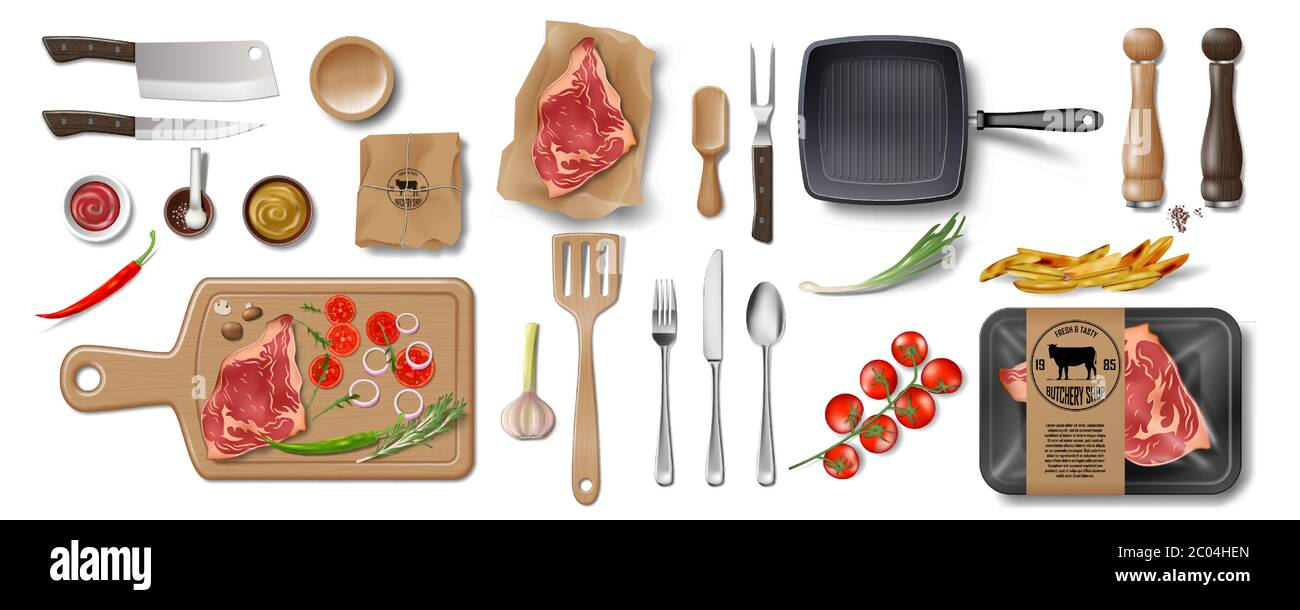 Butcher Shop, Restaurant Brand Identity mockup set isolated. Branding packaging mock up elements for meat shop, cafe or steak house. supermarket food Stock Vector