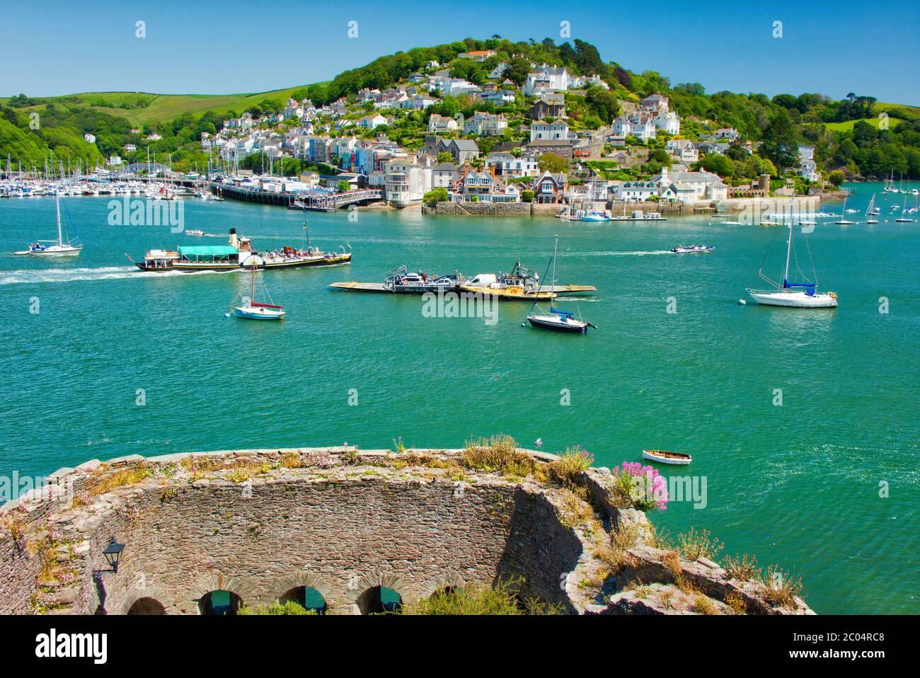 GB - DEVON: View across Dartmouth Castle and river Dart towards Kingswear Stock Photo