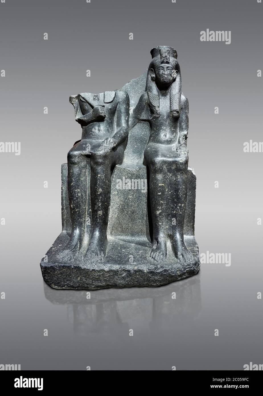 Ancient Egyptian statue of king Horemheb & his wife Mutnedjemet, granodiorite, New Kingdom, 18th Dynasty, (1319-1292 BC), Karnak, Temple of Amon. Egyp Stock Photo