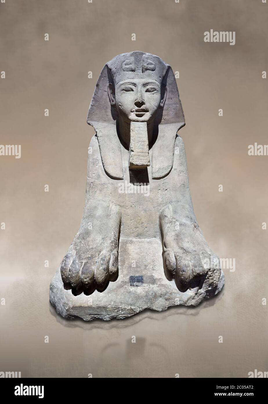 Ancient Egyptian Sphinx statue, sandstone, New Kingdom, early 19th Dynasty (1292-1250), Karnak, Temple of Amon. Egyptian Museum, Turin.   This sphinx Stock Photo
