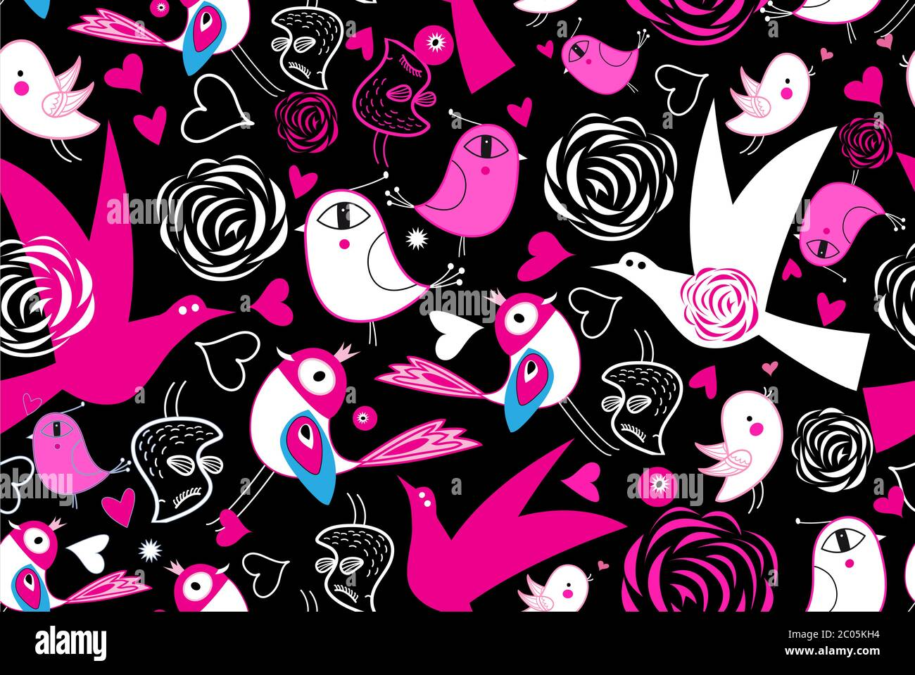Seamless Bright Pattern With Love Birds On A Dark Background For Valentine S Day Template For Wallpaper Or Fabric Stock Vector Image Art Alamy