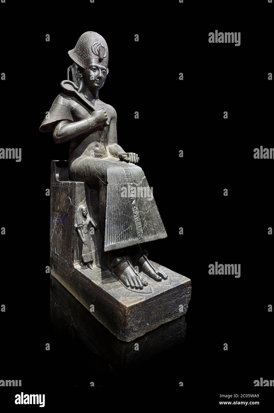 Ancient Egyptian statue of Ramesses II. granodiorite, New Kingdom, 19th Dynasty, (1279-1213 BC), Karnak, Temple of Amon. Egyptian Museum, Turin. Black Stock Photo