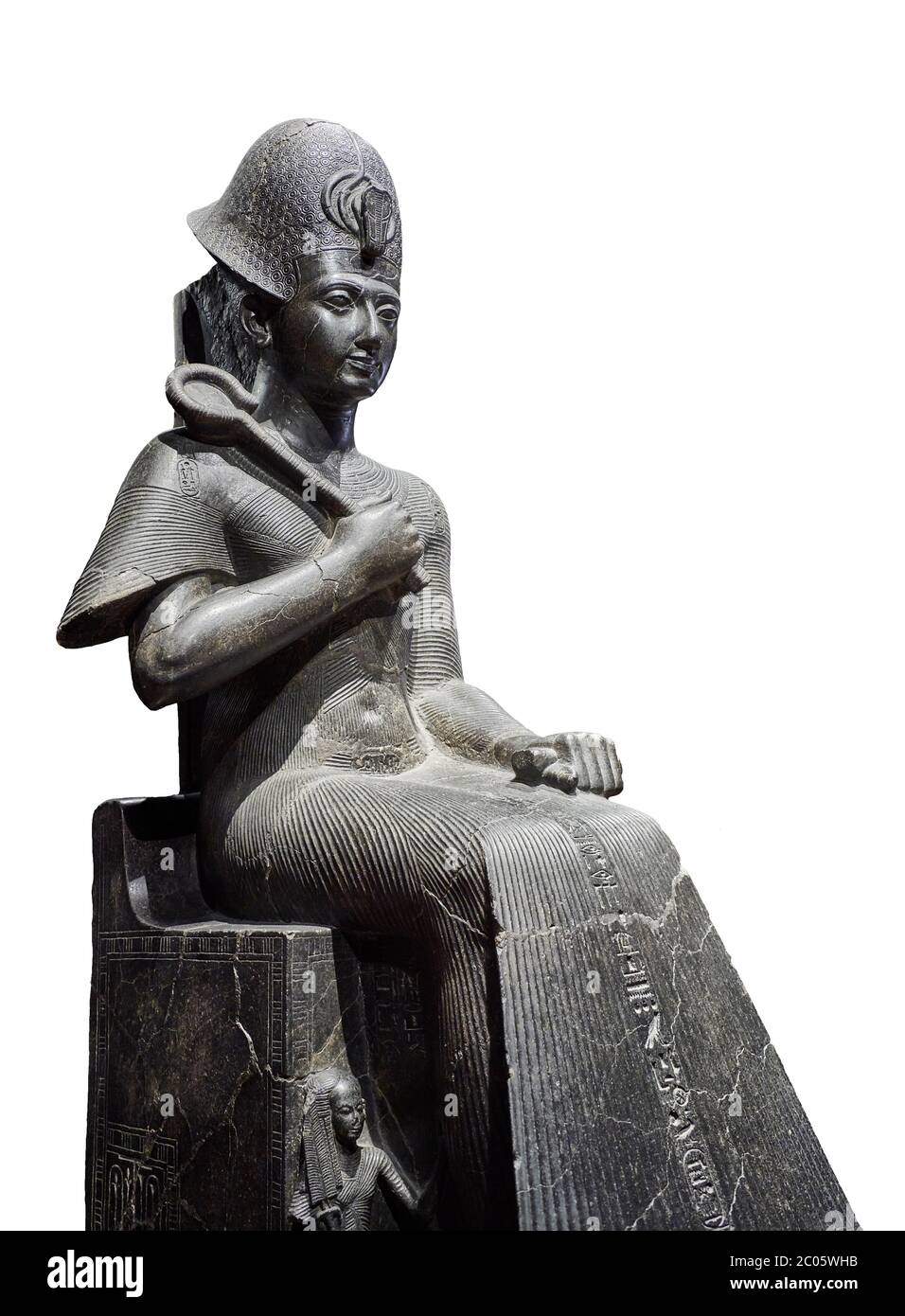 Ancient Egyptian statue of Ramesses II. granodiorite, New Kingdom, 19th Dynasty, (1279-1213 BC), Karnak, Temple of Amon. Egyptian Museum, Turin. white Stock Photo