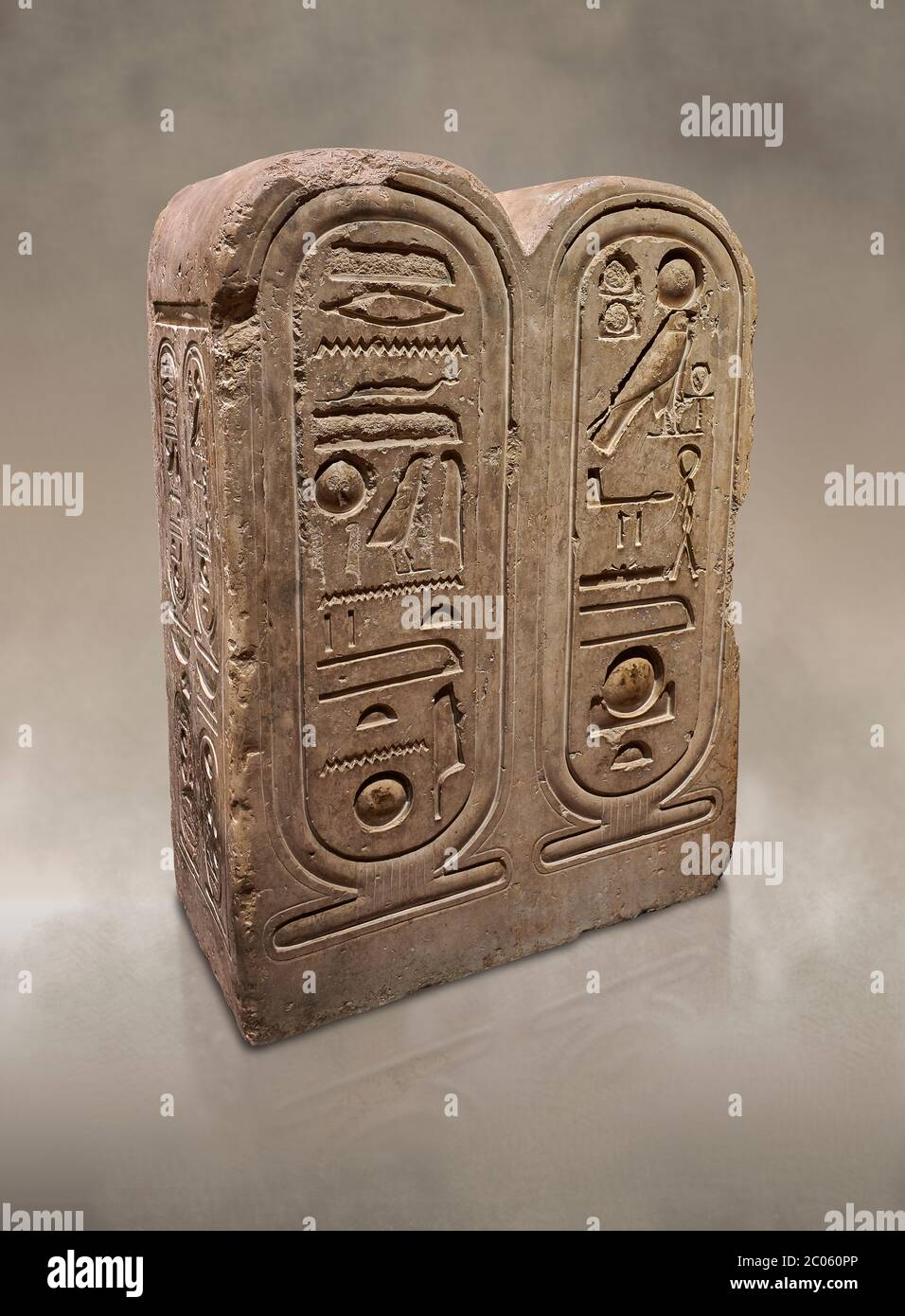 Ancient Egyptian architectonic element of the temple of Aten, Karnak, limestone, New Kingdom 18th Dynasty (1353-1336 BC). Egyptian Museum, Turin.  Thi Stock Photo